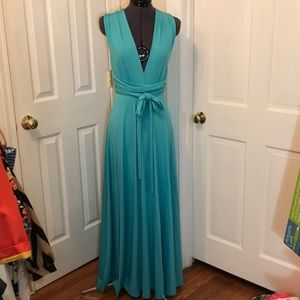 Aqua maxi dress with multi way tie